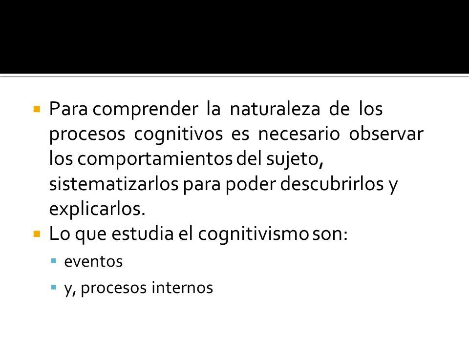Lo que estudia el cognitivismo son: