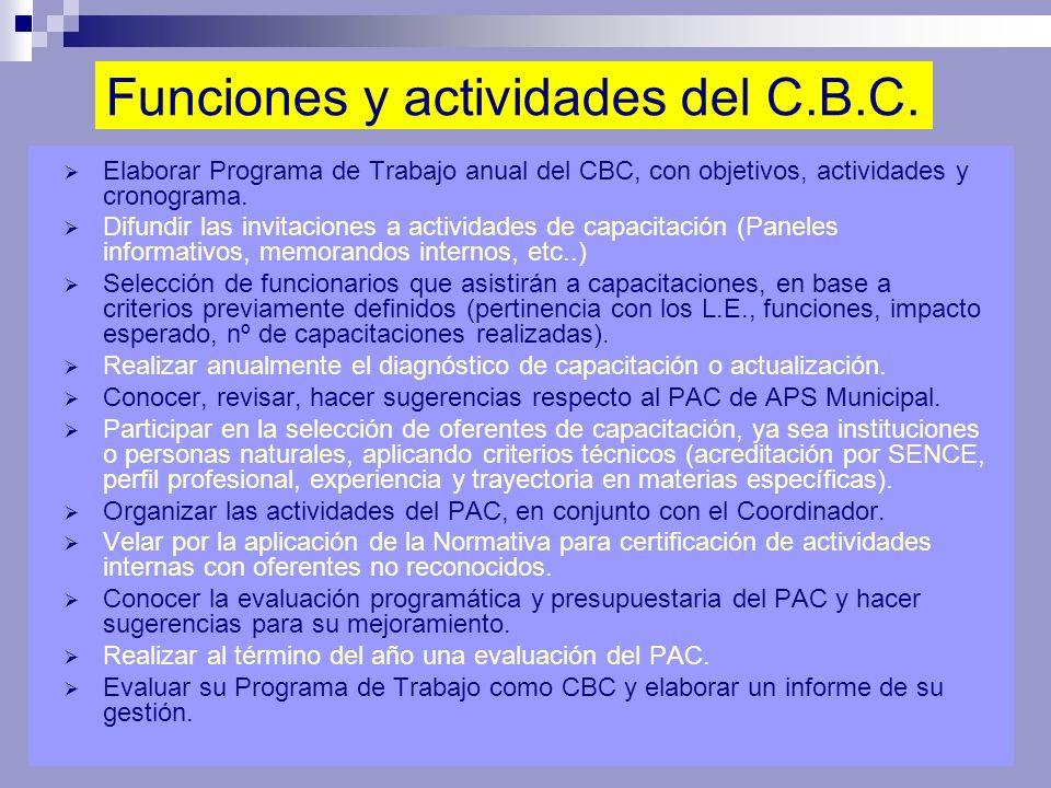 Funciones y actividades del C.B.C.
