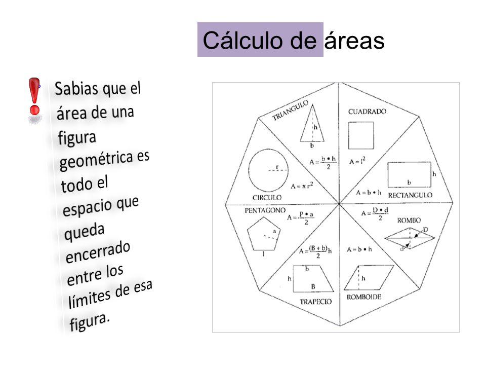 Cálculo de áreas Sabias que el área de una figura geométrica es todo el espacio que queda encerrado entre los límites de esa figura.