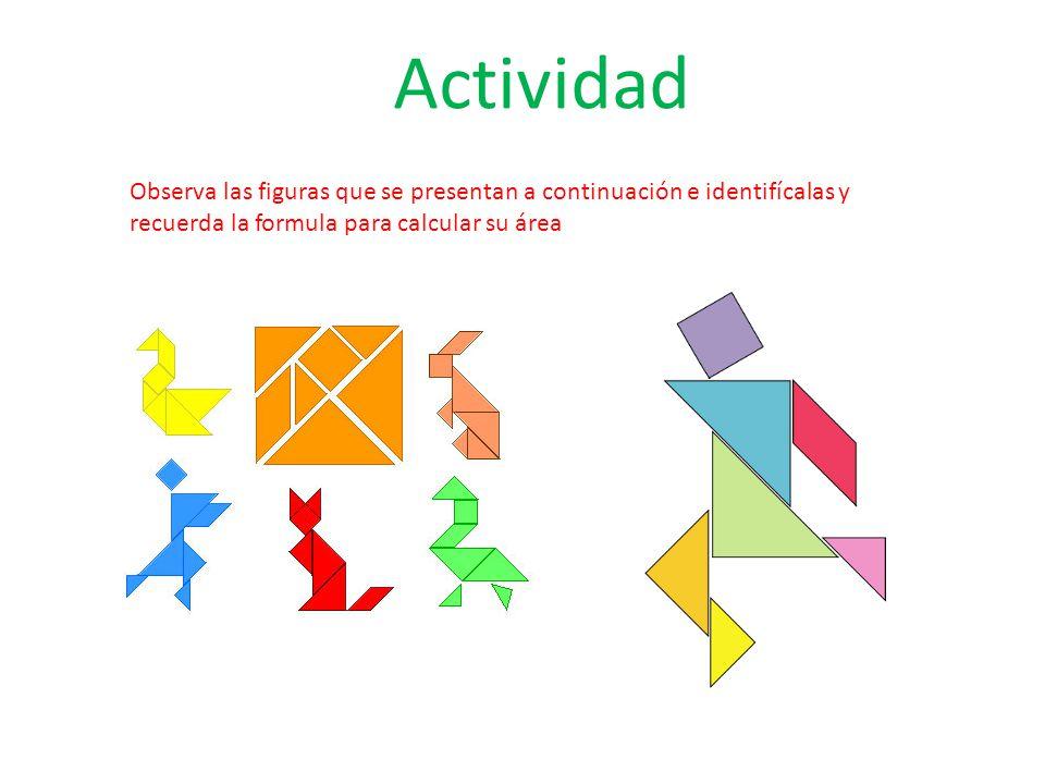 Actividad Observa las figuras que se presentan a continuación e identifícalas y recuerda la formula para calcular su área.