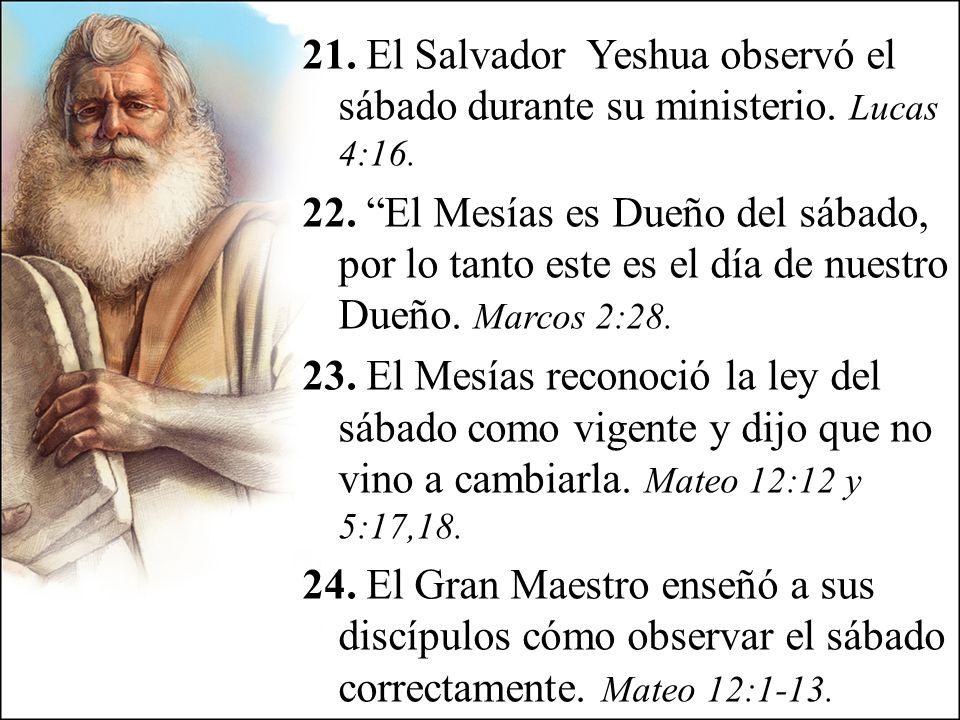 21. El Salvador Yeshua observó el sábado durante su ministerio