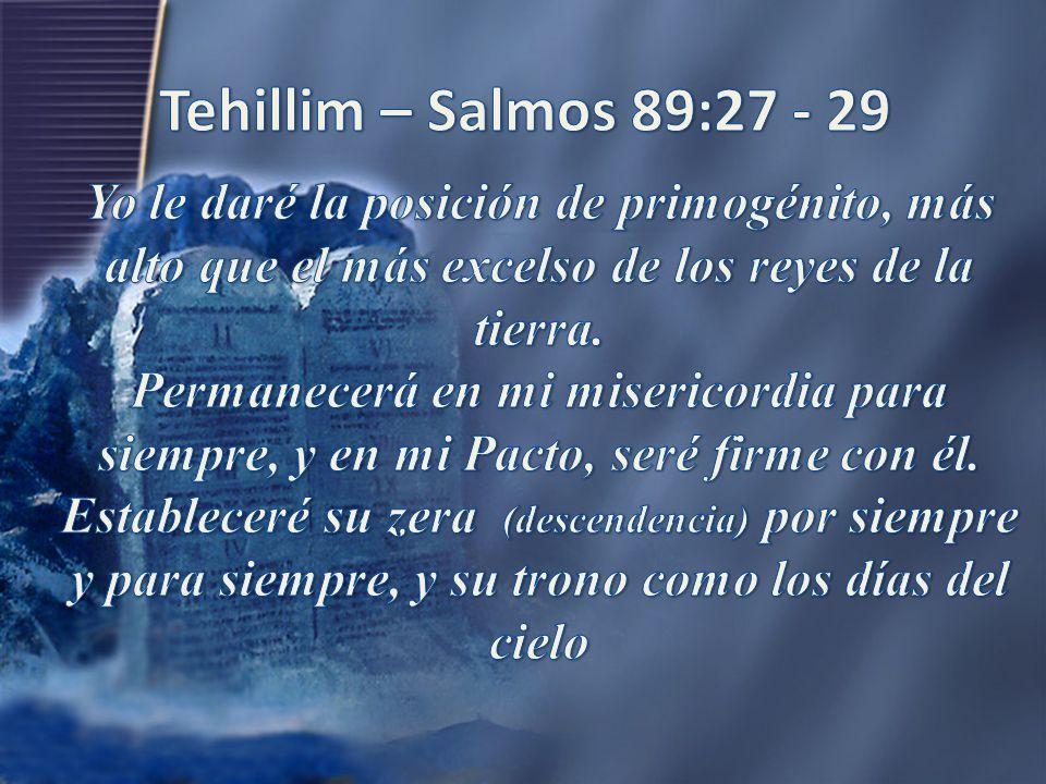 Tehillim – Salmos 89:27 - 29 Yo le daré la posición de primogénito, más alto que el más excelso de los reyes de la tierra.