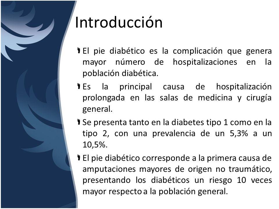 IntroducciónEl pie diabético es la complicación que genera mayor número de hospitalizaciones en la población diabética.
