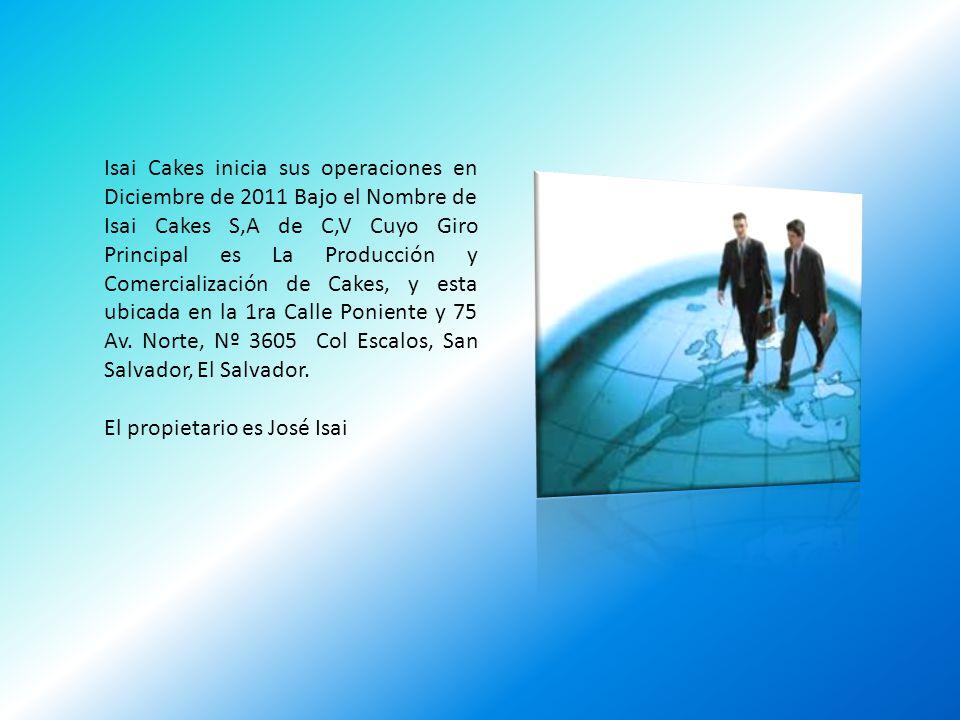 Isai Cakes inicia sus operaciones en Diciembre de 2011 Bajo el Nombre de Isai Cakes S,A de C,V Cuyo Giro Principal es La Producción y Comercialización de Cakes, y esta ubicada en la 1ra Calle Poniente y 75 Av. Norte, Nº 3605 Col Escalos, San Salvador, El Salvador.
