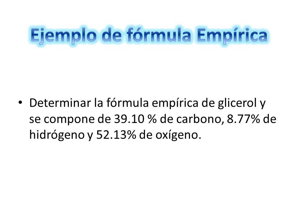 Ejemplo de fórmula Empírica