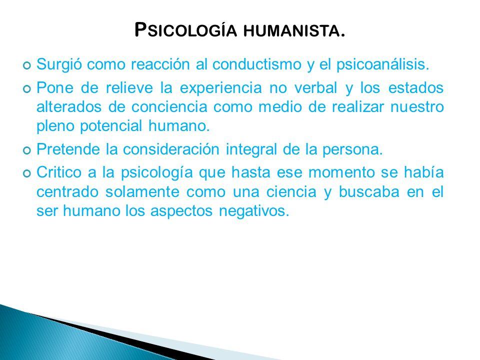 Psicología humanista. Surgió como reacción al conductismo y el psicoanálisis.