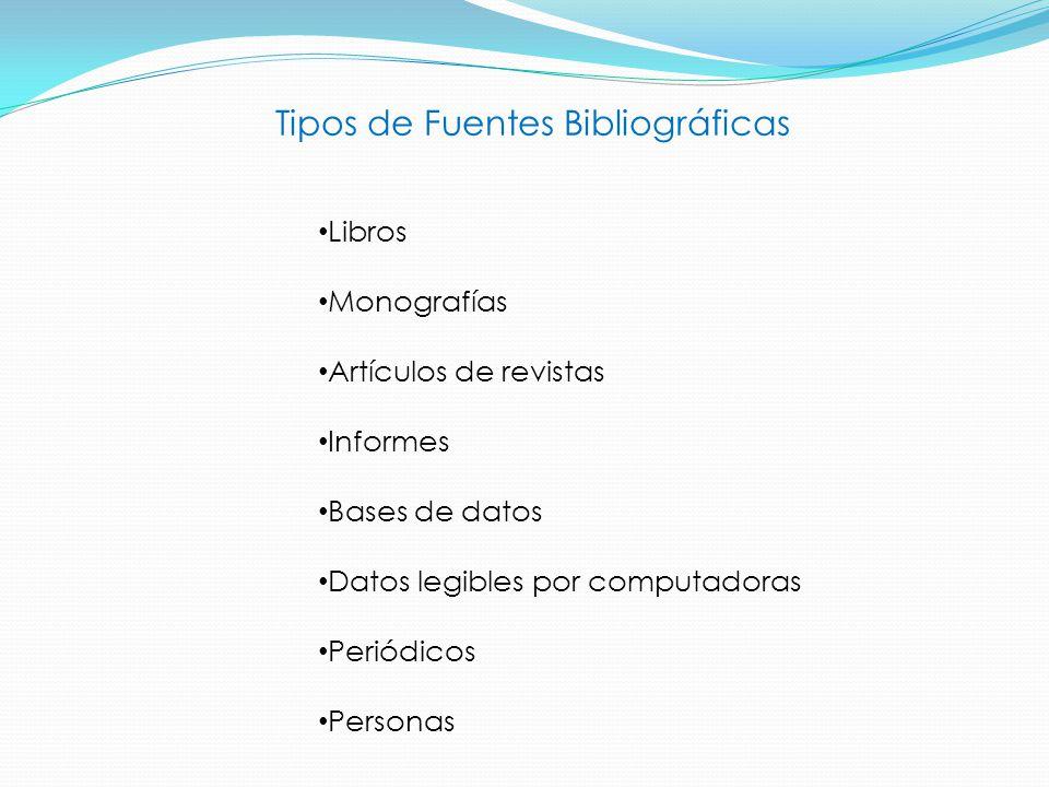 Tipos de Fuentes Bibliográficas