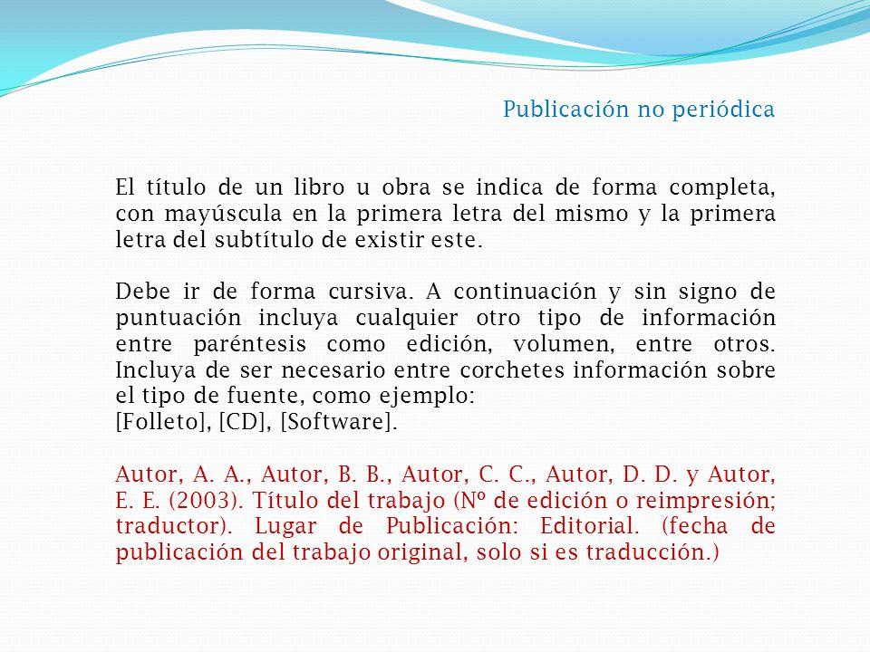 Publicación no periódica