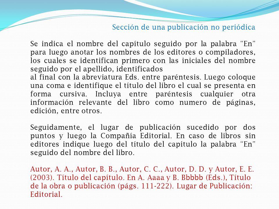 Sección de una publicación no periódica