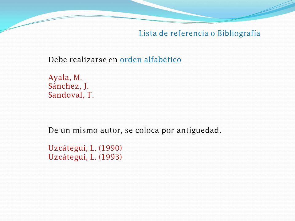 Lista de referencia o Bibliografía