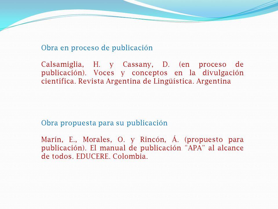 Obra en proceso de publicación