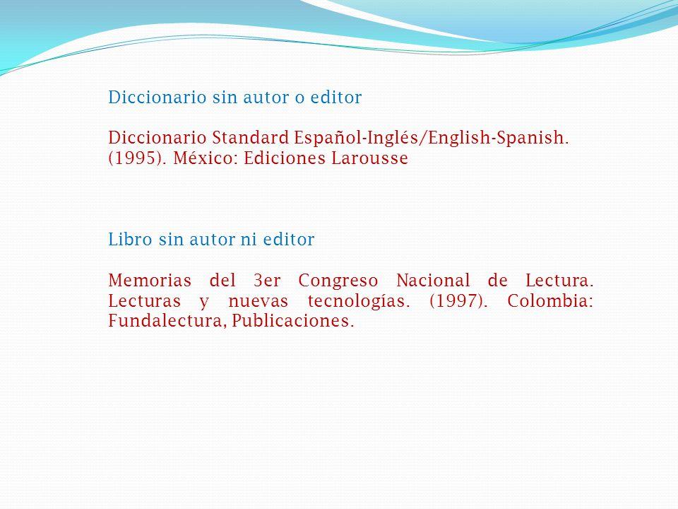 Diccionario sin autor o editor