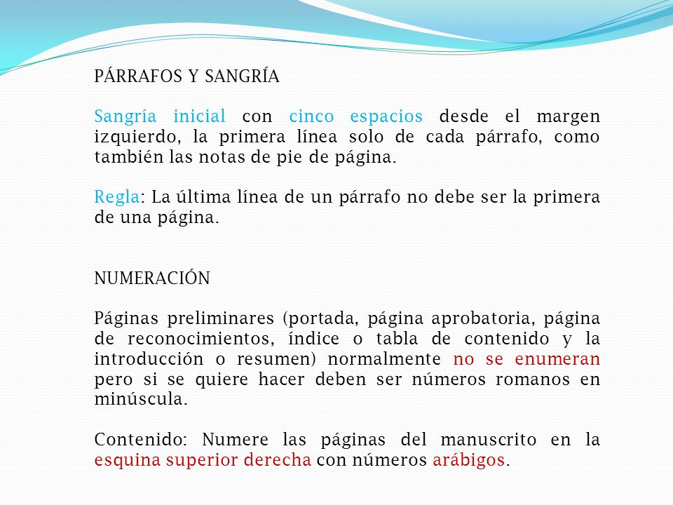 PÁRRAFOS Y SANGRÍA