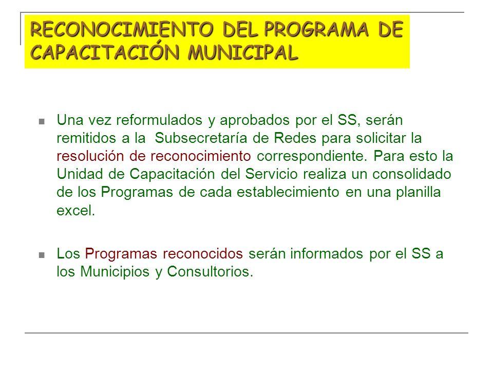 RECONOCIMIENTO DEL PROGRAMA DE CAPACITACIÓN MUNICIPAL