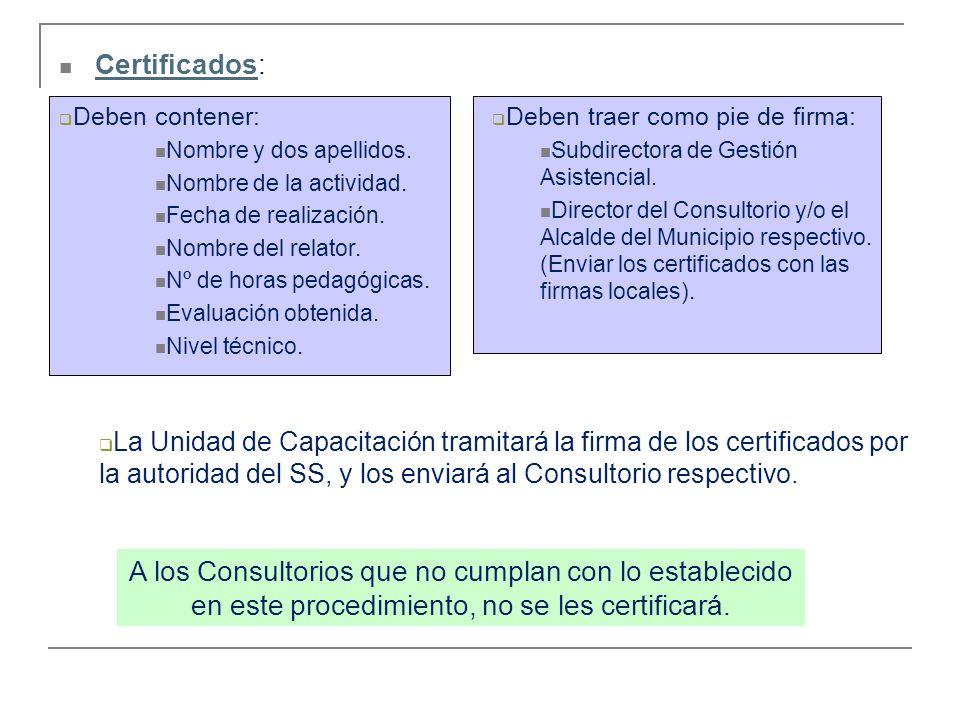 Certificados: Deben contener: Nombre y dos apellidos. Nombre de la actividad. Fecha de realización.