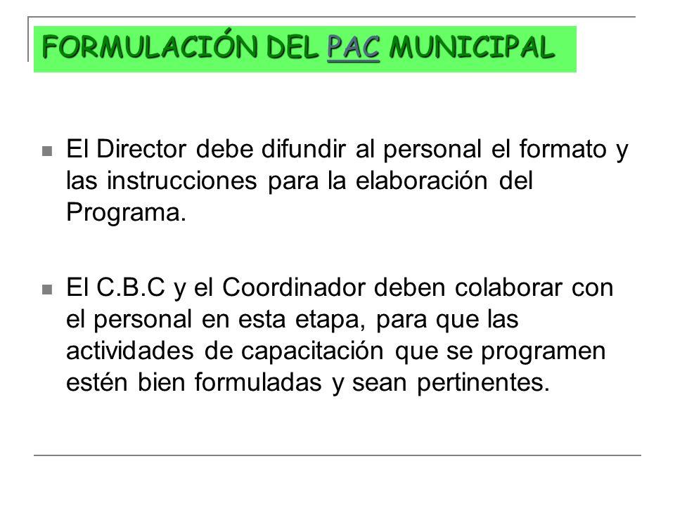FORMULACIÓN DEL PAC MUNICIPAL