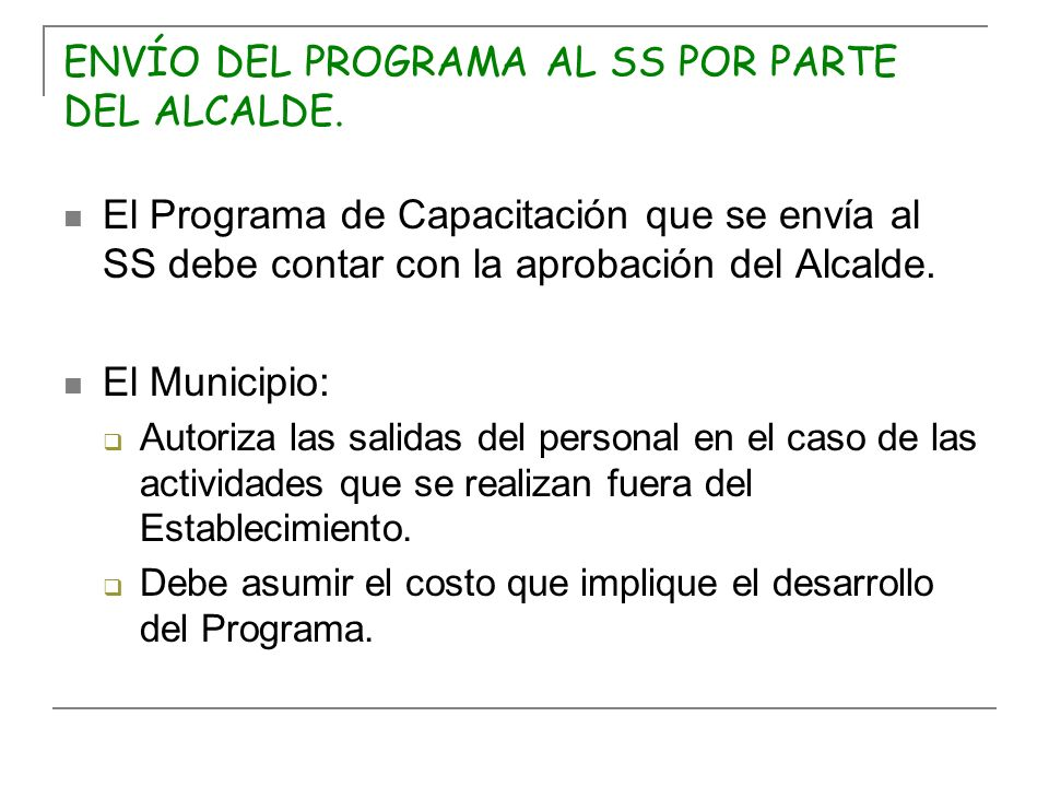 ENVÍO DEL PROGRAMA AL SS POR PARTE DEL ALCALDE.
