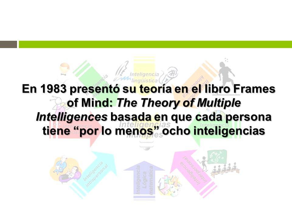 En 1983 presentó su teoría en el libro Frames of Mind: The Theory of Multiple Intelligences basada en que cada persona tiene por lo menos ocho inteligencias