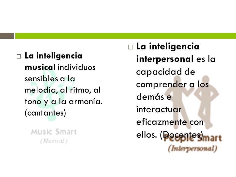 La inteligencia musical individuos sensibles a la melodía, al ritmo, al tono y a la armonía. (cantantes)