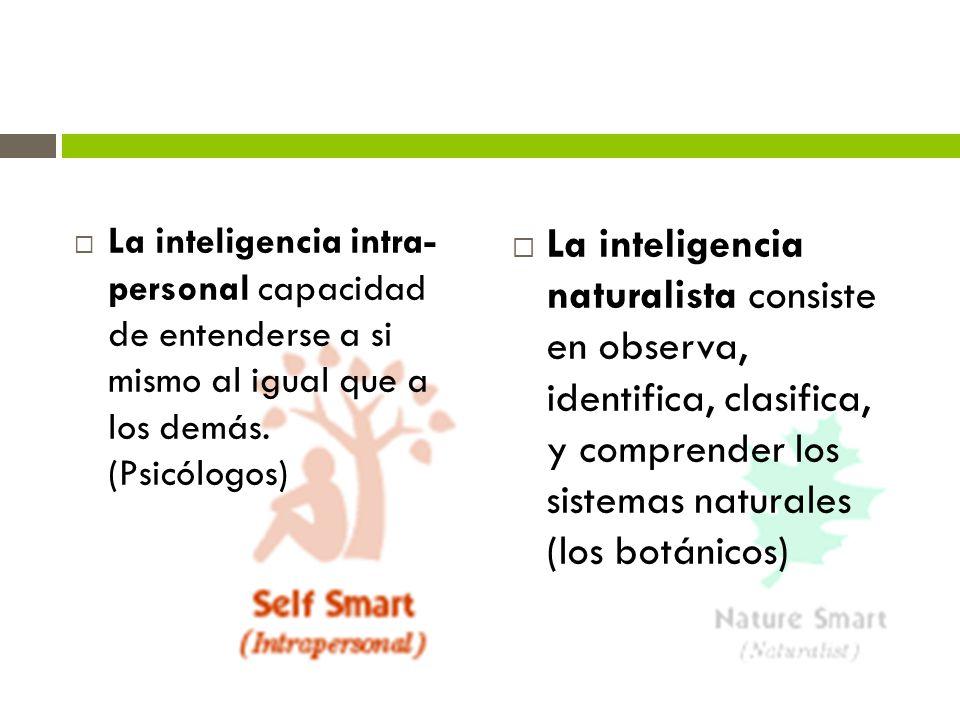 La inteligencia intra- personal capacidad de entenderse a si mismo al igual que a los demás. (Psicólogos)