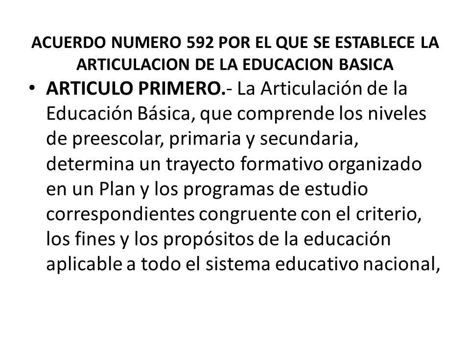 ACUERDO NUMERO 592 POR EL QUE SE ESTABLECE LA ARTICULACION DE LA EDUCACION BASICA