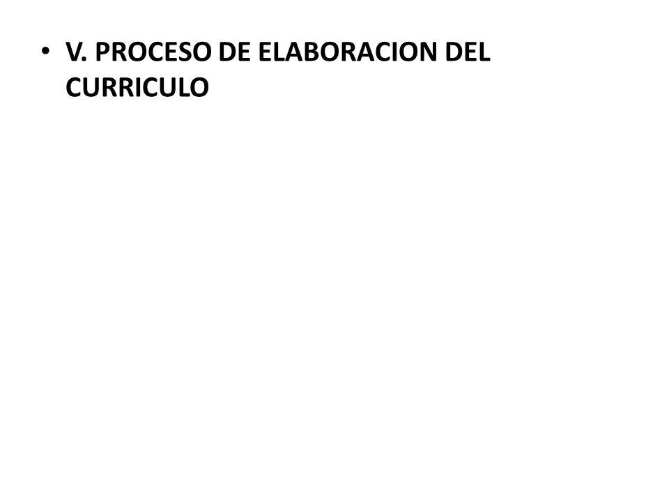 V. PROCESO DE ELABORACION DEL CURRICULO