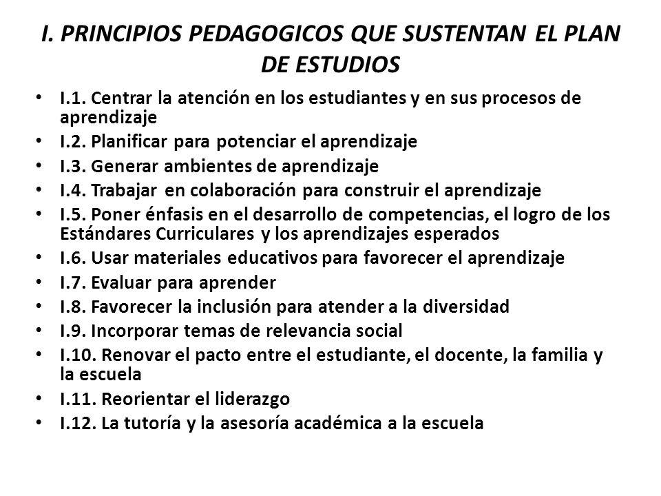 I. PRINCIPIOS PEDAGOGICOS QUE SUSTENTAN EL PLAN DE ESTUDIOS