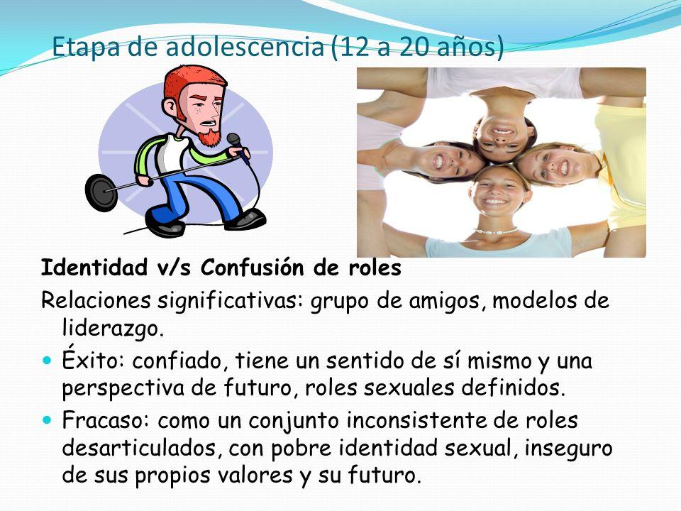 Etapa de adolescencia (12 a 20 años)