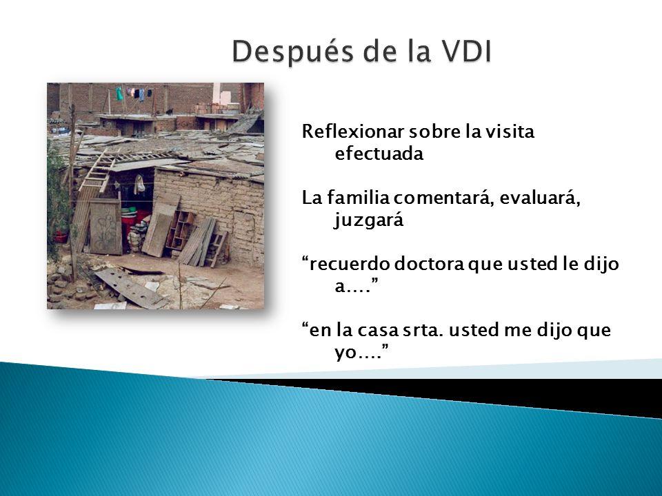 Después de la VDI Reflexionar sobre la visita efectuada