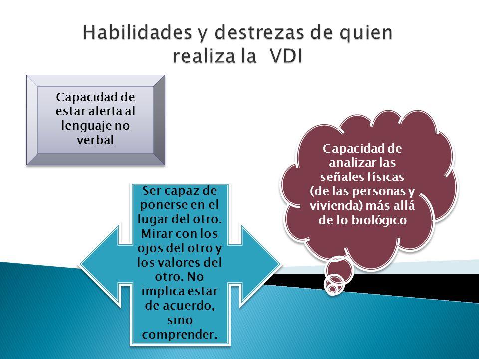 Habilidades y destrezas de quien realiza la VDI