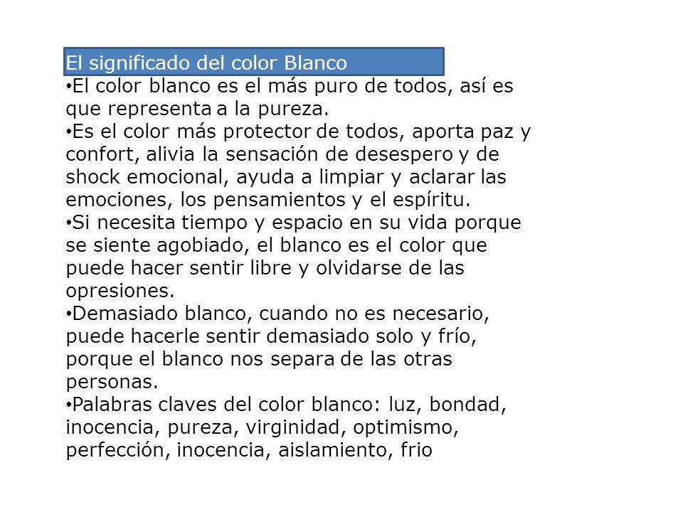 El significado del color Blanco