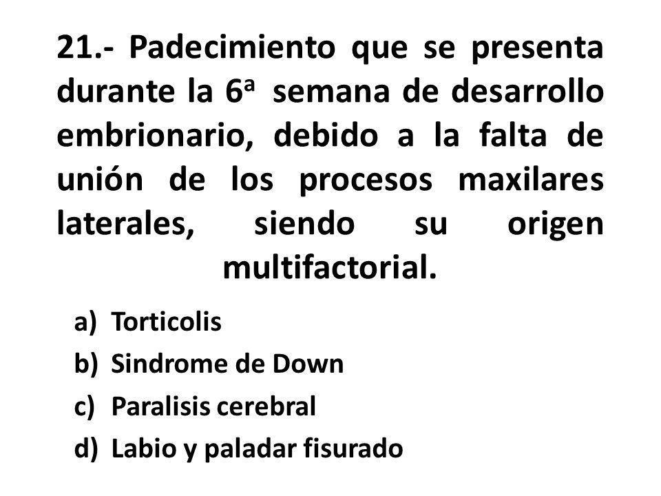 21.- Padecimiento que se presenta durante la 6a semana de desarrollo embrionario, debido a la falta de unión de los procesos maxilares laterales, siendo su origen multifactorial.