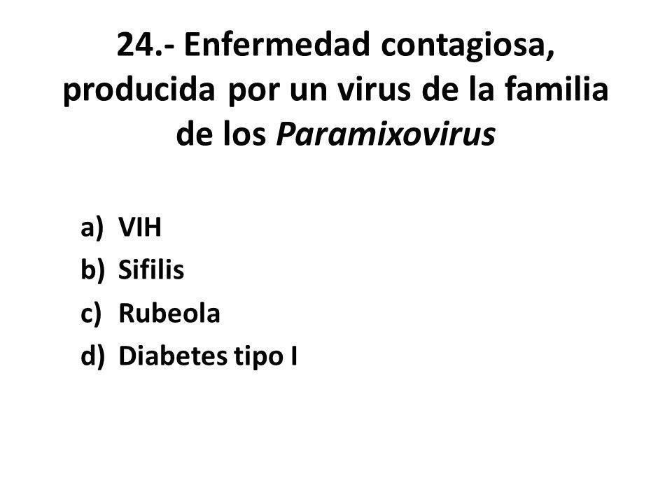 VIH Sifilis Rubeola Diabetes tipo I