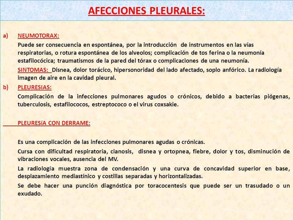AFECCIONES PLEURALES: