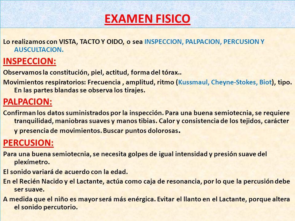 INSPECCION: PALPACION: PERCUSION: EXAMEN FISICO
