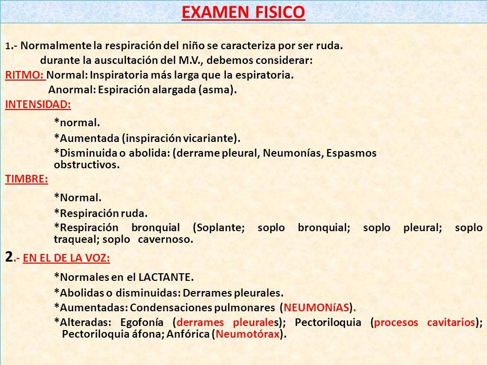 EXAMEN FISICO *normal. *Normal. 2.- EN EL DE LA VOZ:
