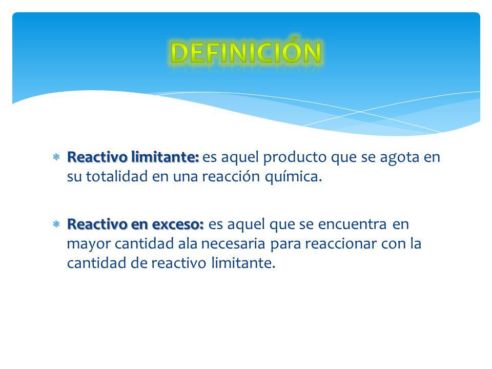 Definición Reactivo limitante: es aquel producto que se agota en su totalidad en una reacción química.