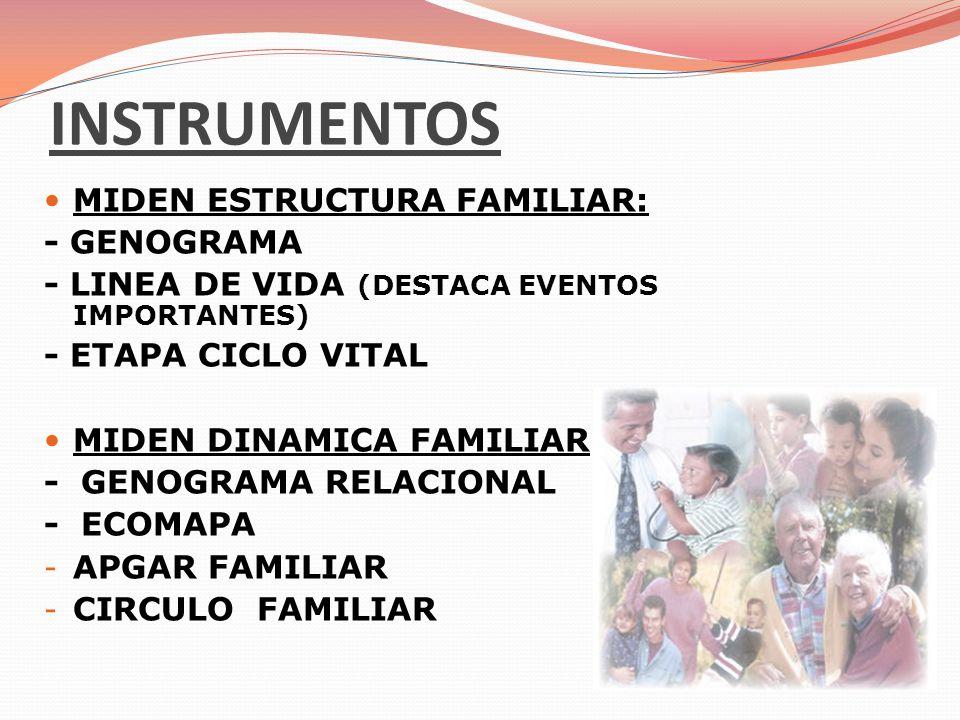 INSTRUMENTOS MIDEN ESTRUCTURA FAMILIAR: - GENOGRAMA