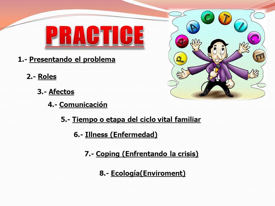 PRACTICE 1.- Presentando el problema 2.- Roles 3.- Afectos