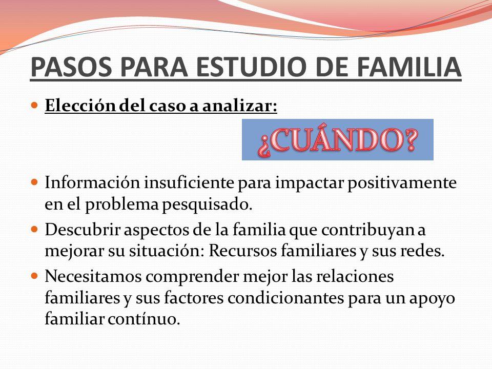 PASOS PARA ESTUDIO DE FAMILIA