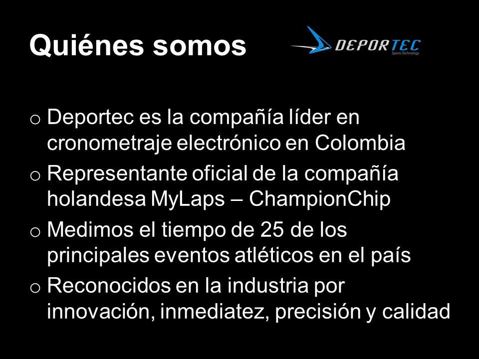 Quiénes somos Deportec es la compañía líder en cronometraje electrónico en Colombia.