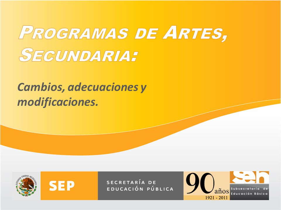 Programas de Artes, Secundaria: