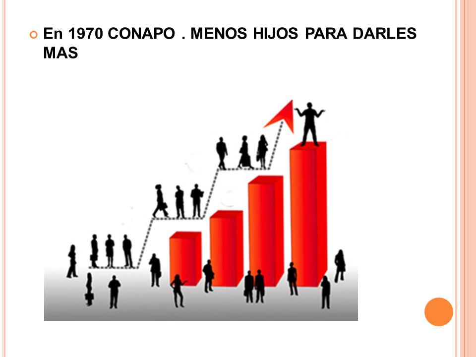En 1970 CONAPO . MENOS HIJOS PARA DARLES MAS