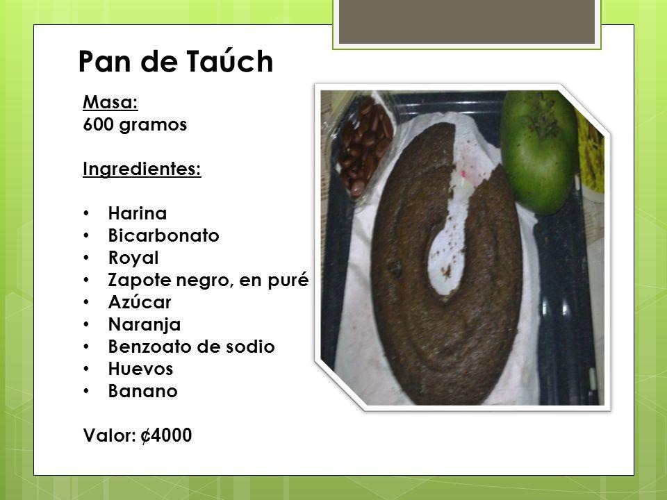 Pan de Taúch Masa: 600 gramos Ingredientes: Harina Bicarbonato Royal