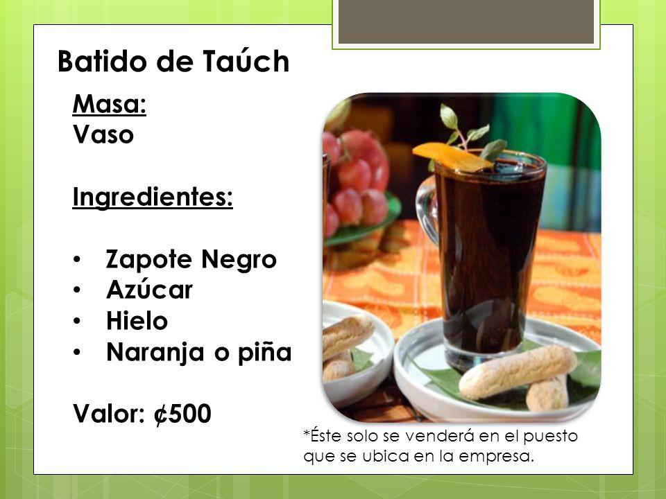 Batido de Taúch Masa: Vaso Ingredientes: Zapote Negro Azúcar Hielo