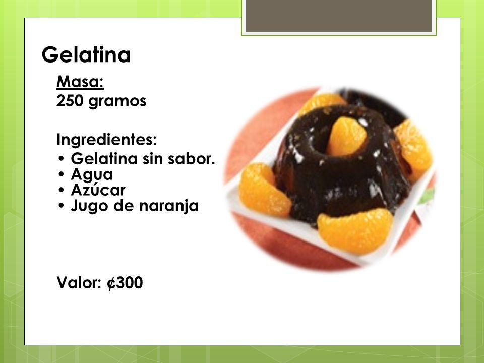 Gelatina Masa: 250 gramos Ingredientes:
