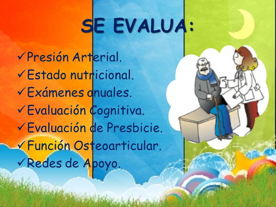 SE EVALUA: Presión Arterial. Estado nutricional. Exámenes anuales.