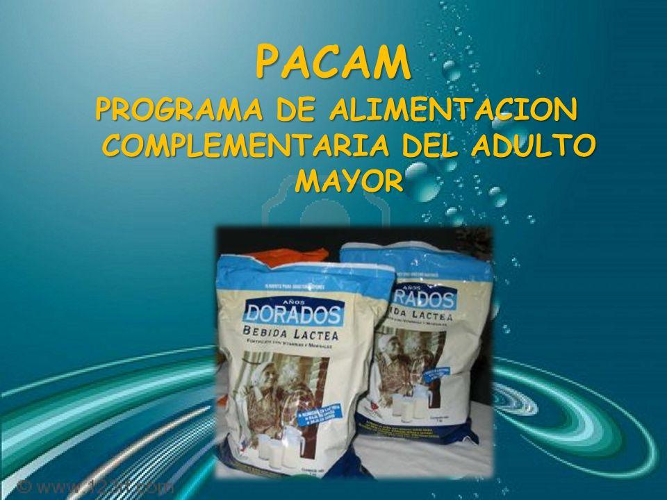 PROGRAMA DE ALIMENTACION COMPLEMENTARIA DEL ADULTO MAYOR
