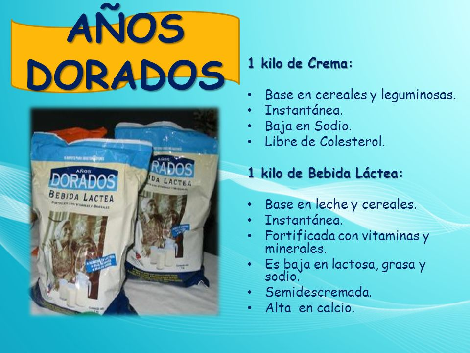 AÑOS DORADOS 1 kilo de Crema: Base en cereales y leguminosas.