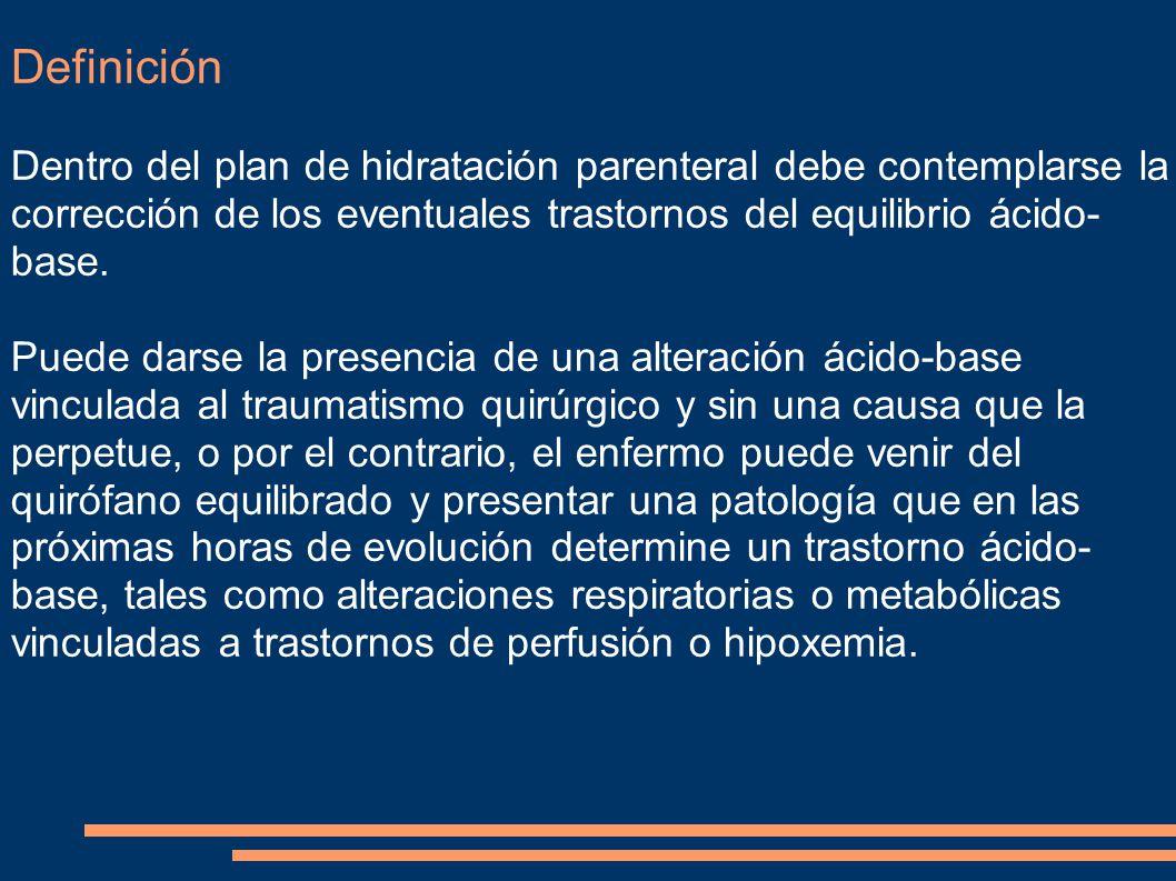 Definición Dentro del plan de hidratación parenteral debe contemplarse la corrección de los eventuales trastornos del equilibrio ácido-base.